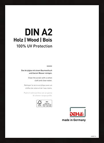 DEHA Holz Bilderrahmen Fontana, 42x59,4 cm (A2), Schwarz