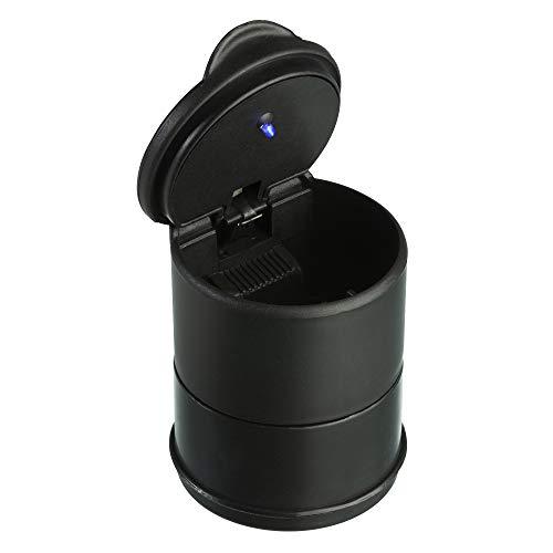 TRIXES Aschenbecher mit Deckel und LED-Licht - Müll Abfalleimer für Getränkehalter und für Autos - Nein – Geruch AutoZubehör - Kompakte Abfallentsorgung