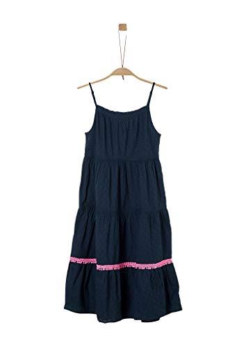 s.Oliver Mädchen Plumetis-Kleid mit im Stufen-Look dark blue 152.REG