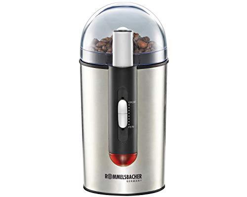 ROMMELSBACHER Kaffeemühle EKM 150 - Schlagmesser aus Edelstahl, Edelstahl Bohnenbehälter, Füllmenge 40 g, Mahldauer elektronisch gesteuert, 7 Stufen, auch für Gewürze, Zucker, Nüsse, 150 Watt