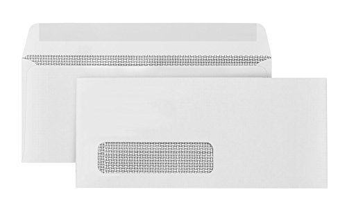 500 Number 10 Single Window Envelopes - Thick Gummed Seal - Designed for Secure Mailing of Quickbooks Checks, Invoices, Business Statements, Personal Letters - 4 1/8 x 9 1/2