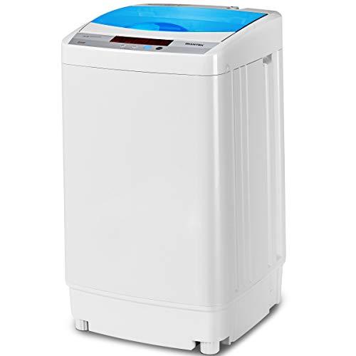 DREAMADE Waschvollautomat Waschmaschine, A+++ Miniwaschmaschine mit Schleuder,Toplader, Pump,Miniwaschmaschine vollautomatisch, Weiß (Modell2)