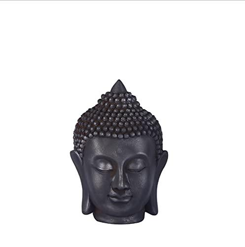 Resin Buddha Head Statue, Meditating Buddha Figurine Ornament Buddhist Supplies for Home Decoration