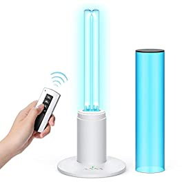 UV Germicidal Lamp 36W Disinfection Quartz Lamp with Ozone Sterilization, Remote Control Timer 15 min/ 30 min / 1 Hour… 1 【UVC with Ozone】: Ozone has a very powerful function, even if there is an object blocking, the gas will also spread throughout the room, without being affected by obstructions. but ozone itself has an unbearable smell after use needs to keep the room ventilated for 40 minutes or wait a more long time (3-12 hours) to let it self-decomposition into oxygen. Until there is no smell of ozone, then can enter the room. 【Timer Switch with Remote Control】:You can use the remote control to set the working hours, turn on the power, it has 15 seconds delay, safer for your leave. 15/30/60 minutes timer modes suit for different needs. Wide range powerful remote control, which received the signal from the behind wall, no longer need to wait, when the timer ends automatically turn off. 【High Efficiency】: With the design of UV light and Ozone synchronize working, stronger sterilization effect. Powerful 36 Watt UVC quartz lamp, effectively covers up to 40 Square meters. 360°wider beam angle, Light quality, you can use it anywhere you want. Combined with timing devices, you clean the air when you are working outside.
