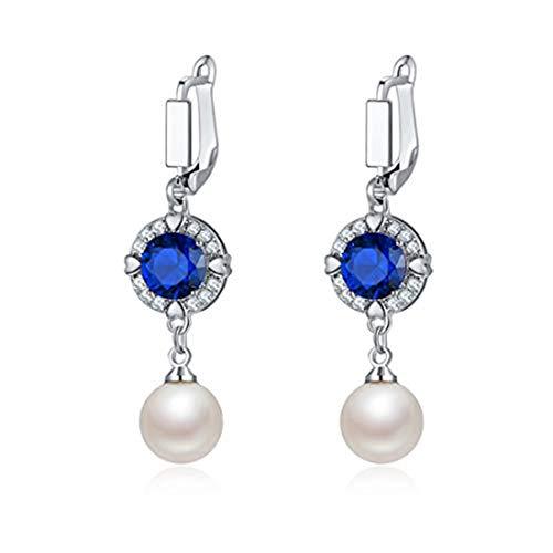 Nuevo pendiente del color del oro blanco con la piedra clara de la CZ y la perla de imitación blanca cuelgan para las mujeres pendiente elegante