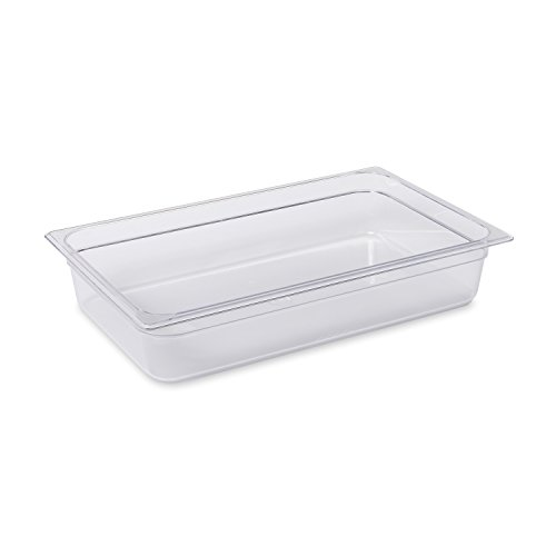 Rubbermaid Commercial Products Cold Food Insert Pan for Restaurants/Kitchens/Cafeterias, Full Size, 4 Inches Deep, Clear (FG131P00CLR)