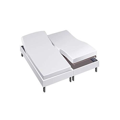 Drap House pour lit articulé 2x90x200 en Percale Blanc - Couleur: Blanc