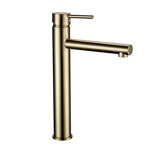 Grifo Grifo baño cromo pulido bronce extendido solo hogar agujero del grifo de agua fría y caliente baño cocina lavabos (Color : Brushed gold)