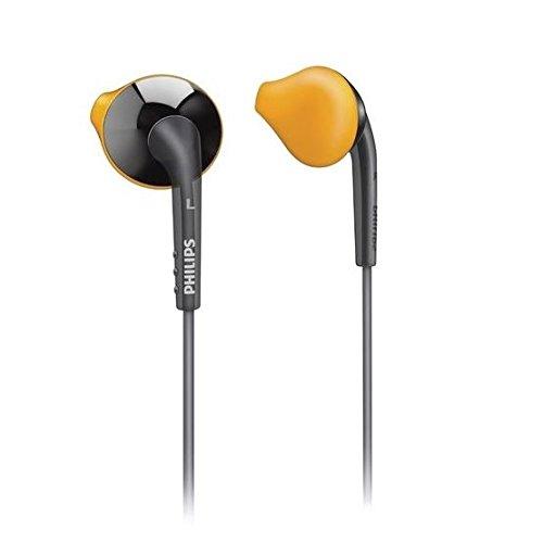 ?Philips SHQ1017GY In-Ear-Sport-Kopfhörer für iPhone/iPod, inkl. Reisetasche, Kabel-Clip und schweißresistente Ohrstöpsel in 3 Größen für einen sicheren Halt, Orange / Grau
