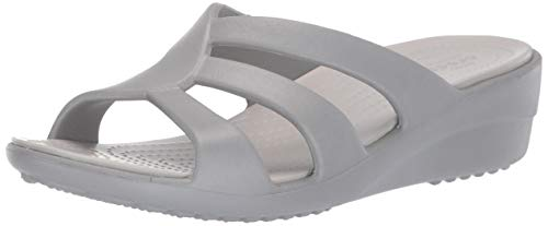 Crocs Damen Sanrah Strappy Wedge Peeptoe Pumps, Silber (Silver/Pearl White 0l2), 42/43 EU