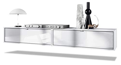 Set de 2 Muebles televisor Colgantes Lana 100, Cada Parte del Set Mide 100 x 29 x 37 cm, Cuerpo en Blanco Mate, frentes en Blanco de Alto Brillo