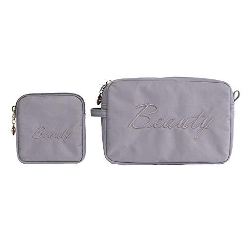 HGbeauty Maquillage Sac 2-pièces Organisateur Sac de Rangement cosmétique Housse cosmétique Portable Pouch Toiletry (Color : Gray)