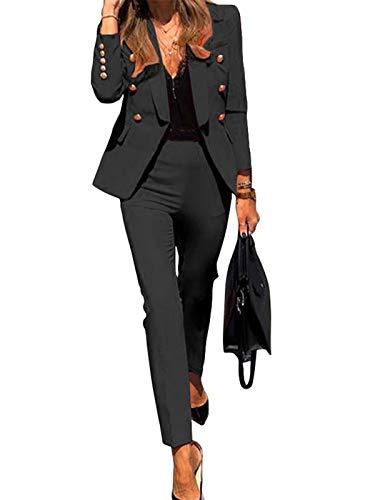 Minetom Damen Zweiteiliger Anzug Set Revers Business Büro Formal Blazer Langarm Anzugjacke Hosenanzug Slim Fit Hose 2 Stück A Schwarz 38