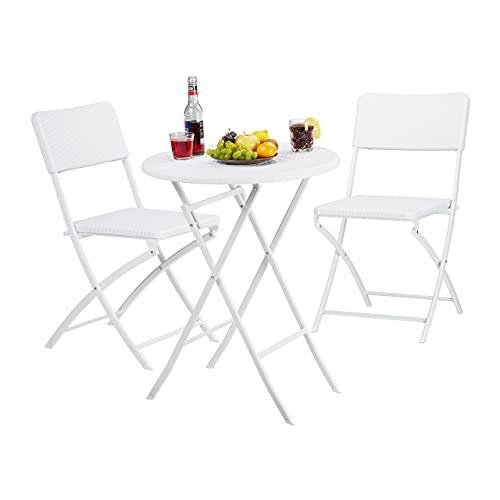 Relaxdays 10020758_49 Set Tavolo e Sedie da Campeggio BASTIAN, Pieghevoli, 3 Pezzi, Rattan, HxLxP 75,5x60x60 cm, Bianco