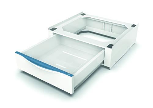 Meliconi Base Torre Extra L60 - Kit de superposición para lavadora-secadora con cajón extraíble y correa de seguridad con hebilla de metal incluida, fabricado en Italia, color blanco