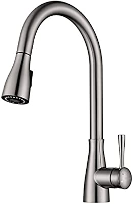 NeoBano Brushed Nickel Kitchen Faucet with Pull Down Sprayer, Single Handle, Single Hole, Pull Out Stainless Steel Kitchen Sink Faucet