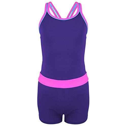 Aquarti Mädchen Badeanzug mit Bein Racerback, Farbe: Violett/Rosa, Größe: 134