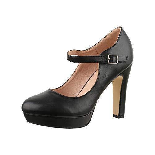 Elara Zapato de Tacón Alto con Correa Mujer Vintage Chunkyrayan Negro E22320 Black-37