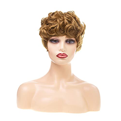 JOXCHAI Natural Fluffy Wavy Hair Wigs Pixie Cut Curly Synthetic Wigs for Women Heat Resistant Fiber Hair Short Wig with Bangs Suitable for Women's Daily Party Use(Brown)