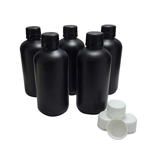 KENZIUM - Set mit Weithalsflaschen aus HDPE, für lichtempfindliche Produkte | Laborfläschchen, Polyethylen hoher Dichte,Schwarze Flasche,mit schwarzem und weißem Schraubverschluss | 5 Stück, 1000ml
