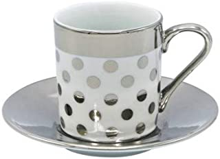 Porcelain China Espresso Turkish Coffee Demitasse Set of 6 Cups + Saucers with Metallic Design (Silver Polka Dots)