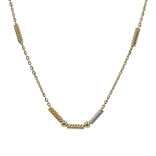 Gioiello Italiano - Collar de cilindros tallados con diamantes en oro tricolor 14kt, longitud 43cm, para mujeres