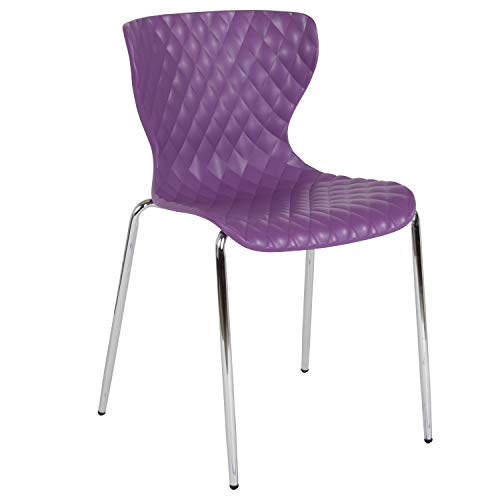 Flash Furniture Lowell Contemporary Design Purple Plastic Stack Chair