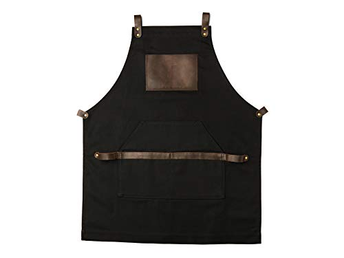 Work Apron in Non-Waxed Canvas with Cross Straps Adjustable for Most Waist Sizes for Men Women Vintage Heavy Duty Apron for Chef, Barber, Barista, Bartender, Metal Working (Black 1 Piece)