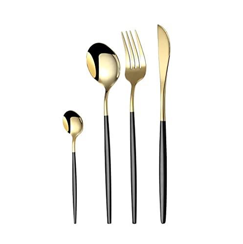 OUDEING Juego De Cubiertos De Cocina 24 Piezas de 304 Cuchillo de bistec de Acero Inoxidable y Tenedor, bellamente Pulido-Negro 24pcs