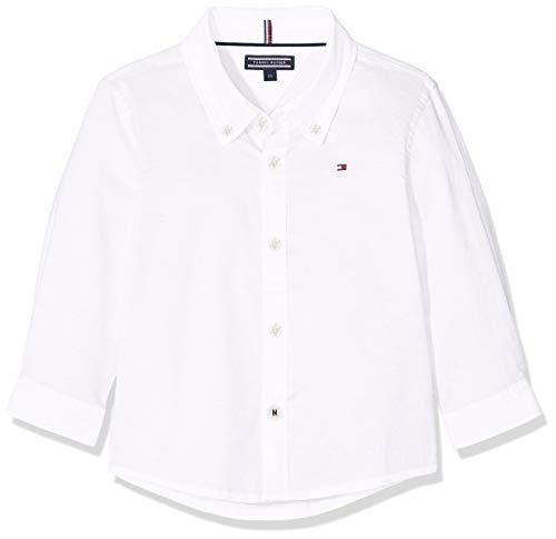 Tommy Hilfiger Jungen Boys Stretch Oxford Shirt L/S Hemd, Weiß (Bright White 123), 140 (Herstellergröße: 10)