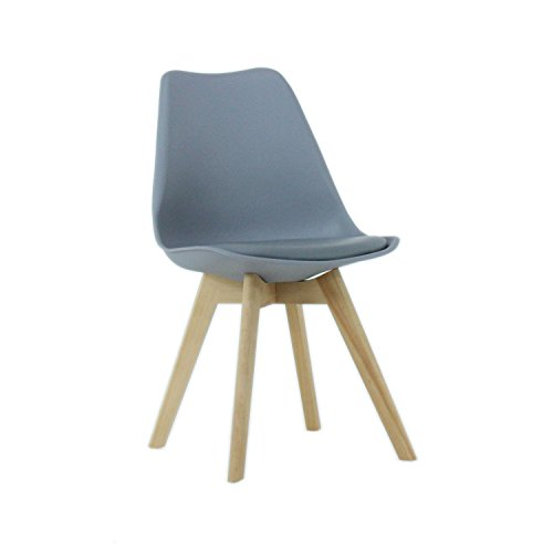 P&N Homewares Lorenzo Chair - Plastic Shell | Padded Seat | Wood Retro | Dining Chairs - White Black Grey Red Yellow Pink Green Blue (WHITE) (Grey Chair)