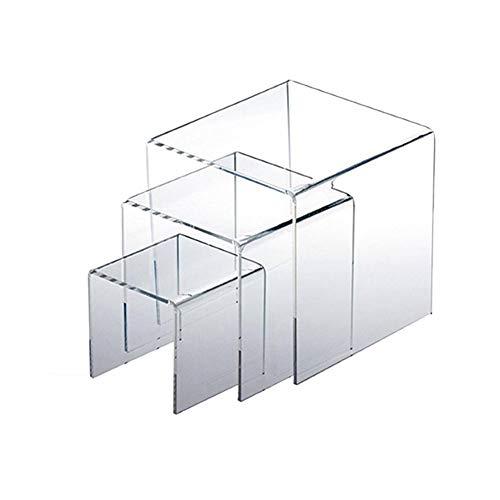 waterfaill 3 Stück/Set Transparente Acryl-Display-Riser, Klares Schmuck-Display-Regal