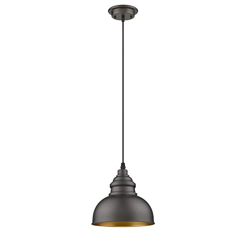 Farmhouse Mini Pendant Lighting for Kitchen Island with Oil Rubbed Bronze Metal Shade and Adjustable Cord, Industrial Ceiling Hanging Light for Bedroom, Living Room, Dining, Restaurant, Bar