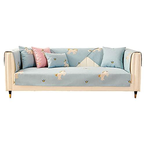 YUTJK Cojín de sofá de Lino de Verano para niños,Europeo Fundas de Sofá,Dos Plazas Antideslizante Funda para Sofá,Cubre Sofá para Chaise Long Rinconera,Azul_110×240cm