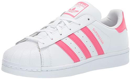 adidas Originals Unisex Superstar Running Shoe White/Real Pink/Real Pink, 7 Medium US Little Kid
