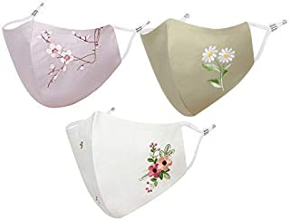 MASQ by Q One Special Blossom Combo-Designer Masks with Ear Adjusters 3-Ply Pre-Washed ((Pack of 3)) Free Mask Bag