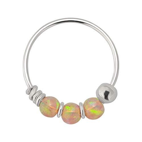 AZARIO LONDON 9K Solid White Gold Triple Pink Opal Bead 22 Gauge Hoop Nose Ring Nose Piercing Jewellery