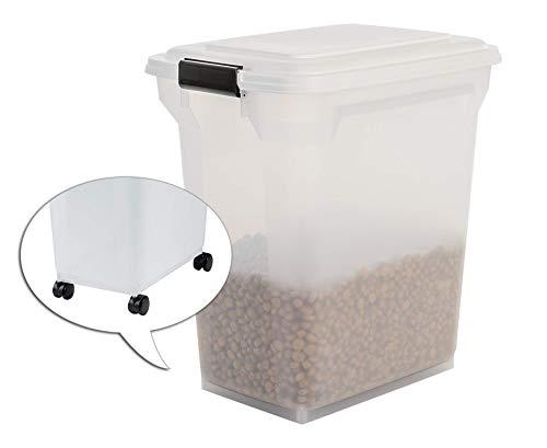 Iris Ohyama, Contenedor de comida para mascotas 45 L por 15 kg, tapa abatible, hermética, transparente, ruedas y pala, para comida para perros y gatos - Air Tight Food Container ATS-L - blanco