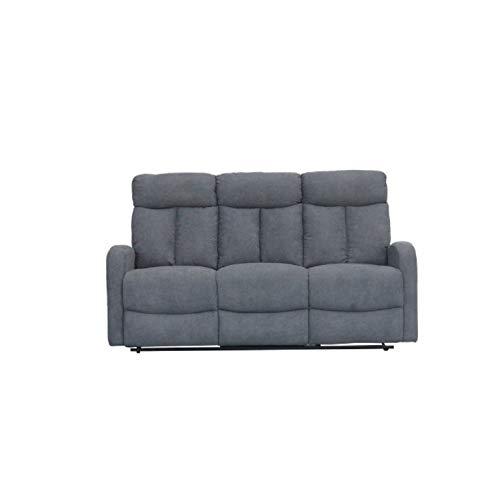 SHIITO - Sofá de 3 Plazas el cual Cuenta con 2 Relax Manual Modelo Fran HD1808 180X95X100. Color Gris