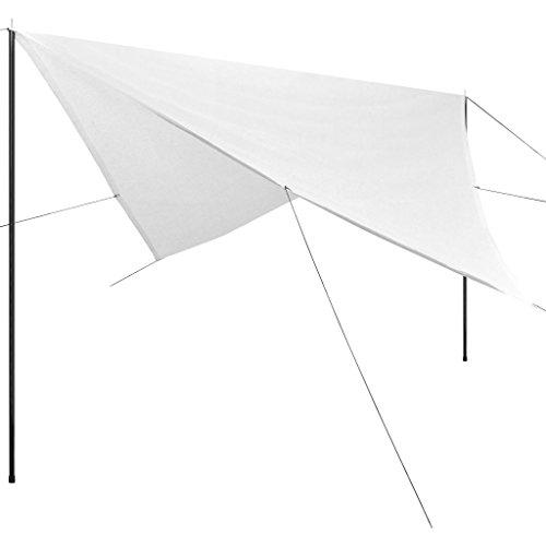 vidaXL Toile d'Ombrage avec Poteaux Carré Bâche de Tente Abri Solaire Auvent de Jardin Plage Parc Aire de Jeux Extérieur HDPE 5x5 m Blanc