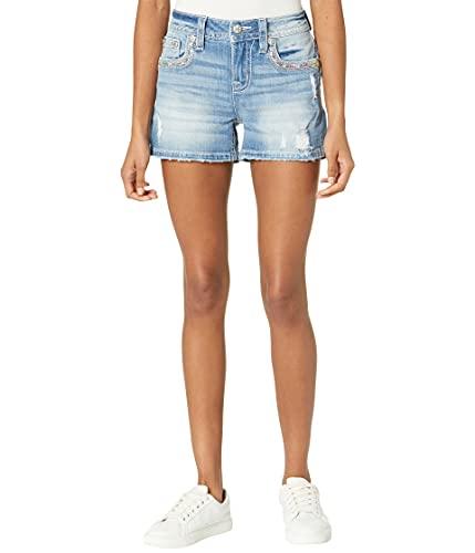 Miss Me Sequin Trim Flap Border Mid-Rise Shorts in Light Blue Light Blue 29