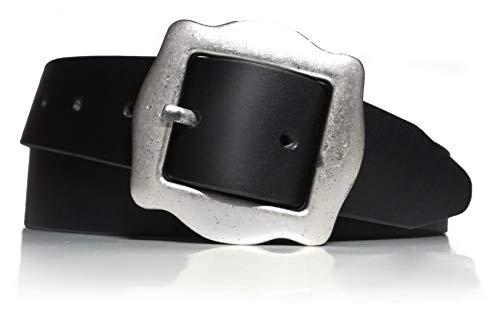 almela - Cinturón mujer - Piel legítima - 3,5 cm de ancho - Cuero - 35mm - Hebilla plata vieja -...