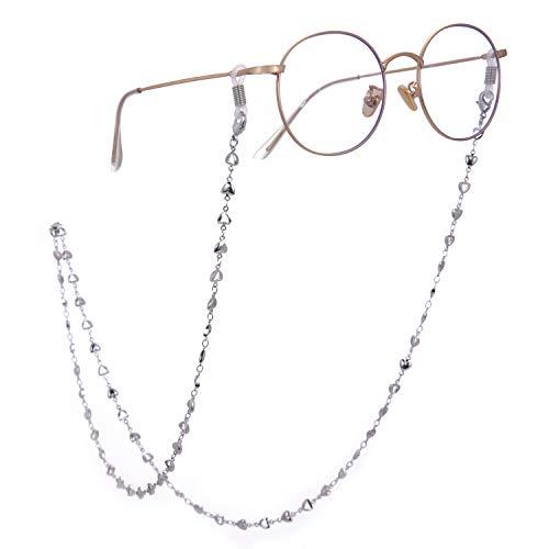LIKGREAT レトロ眼鏡チェーンホルダー レディース ハートビーズリーディング グラスコード 2個