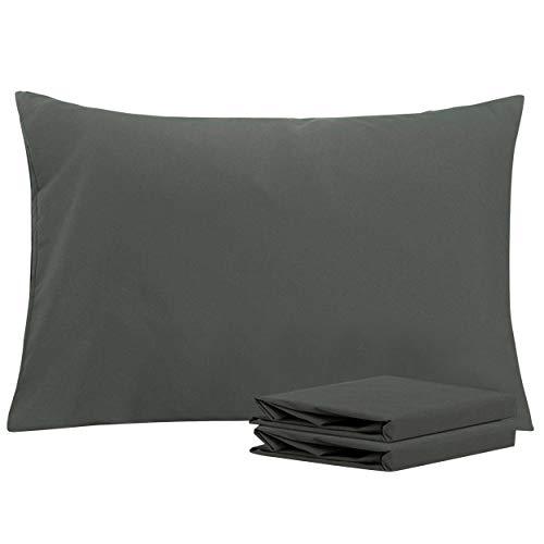 NTBAY 2er Pack Kopfkissenbezüge aus Mikrofaser, Superweicher Premium Kissenbezug mit Reißverschluss, 40x60cm, Dunkelgrau