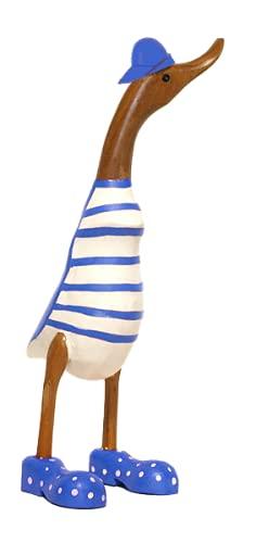 kenai-deko Laufente XL in blauen Sneakers + Cap 40 cm, Ente in Blue Shoes,Teak Holz Ente,wodden Duck
