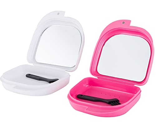 Retainer Case with Mirror, Mouth Guard Case, Orthodontic Dental Retainer Box, Denture Storage Container, Comes with a free small brush, 2 Pieces