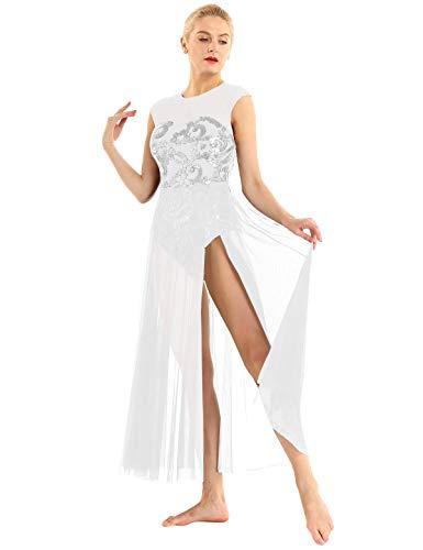 TiaoBug Damen Ballettanzug ärmellos Ballettkleider mit Blumen Pailletten Maxikleid für Lyrical Modern Contemporary Tanz Kostüm Weiß Large