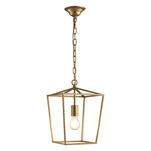 ANJIADENGSHI Lantern Pendant Light Lantern Iron Cage 1 E26 Bulbs Lantern Chandelier for Dining Room Kitchen, Golden(Bulbs Not Included)