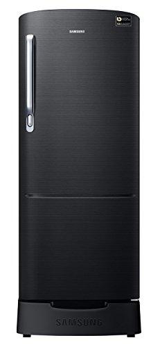 Samsung 212 L 3 Star Direct Cool Single Door Refrigerator(RR22N383ZBS/HL, RR22M285ZBS/NL, Black Inox, Base Stand with Drawer, Inverter Compressor)