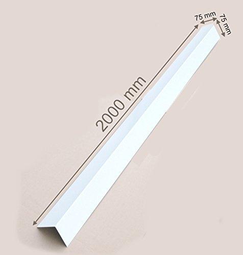 Winkelblech Kantblech Blechwinkel Dachblech Abschlußblech Dach Alu farbig 2 Meter L Profil 90° Alu weiss RAL 9010 (75mm x 75mm)